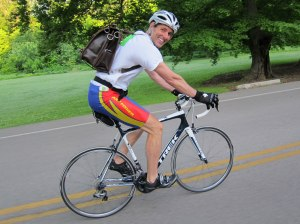 Humana's President/CEO Bruce Broussard biking to work