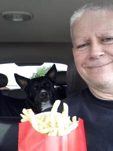 Sharing a large order of fries with Callie