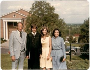 With my parents and sister graduating from college, May 1979